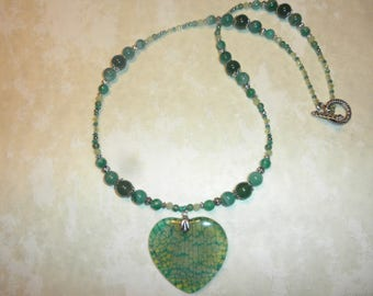 Green Heart Agate Necklace