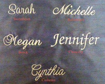 Custom Embroidery Label Name for Bridal Clutch or Bridesmaid Clutch