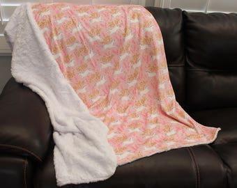 Blanket, minky blanket, adult blanket, unicorn blanket, all minky blanket, designer blanket 50 x 60 blanket