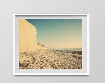 FLASH SALE til MIDNIGHT Beach Cliffs, Surf Decor,  beach photos, , yellow, turquoise, sunset, retro, vintage surf home decor, boys room