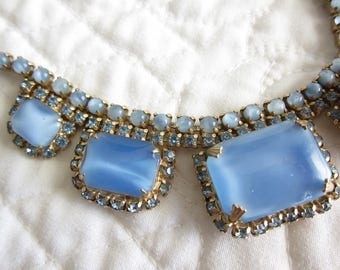 Blue Rhinestone Necklace Lucite Moonstone Choker Necklace Vintage Jewelry Demi Parure Necklace Earrings Set Birthday Gift A114