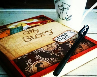 My Story Journal Notebook Diary Life Story Sketchbook Art Journal Keepsake with Unlined Pages