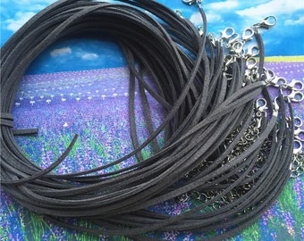 30pcs 16-18 inch adjustable 2.5x1.5mm dark gray suede leather necklace cords with lobster clasps and 2 inch extender