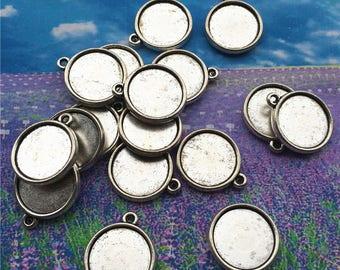 20pcs  14mm(cabochon size) tibetan silver round bezel pendant blanks-both sided
