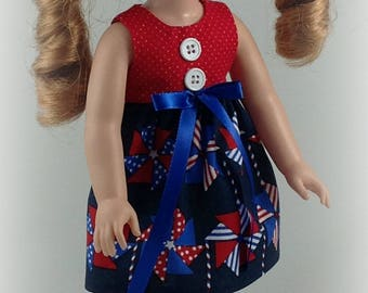 14.5 Inch Doll Clothes -Red White Blue Dress fits Dolls Like Wellie Wishers Doll Clothes