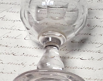 Small Antique French Wine Port Goblet Fine Glass mid 1800s