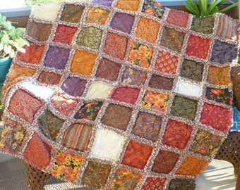 Fall Rag Quilt Autumn Throw Quilt Harvest Leaves Pumpkins Berries Fall Foliage with Gold Autumn Elegance Gift Lap Quilt Ready to Ship