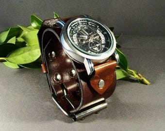 Mens Leather Watch-Skeleton Watch-Cuff Leather Watch-Men Cuff Watch-Silver Cuff Watch-Cuff Watch Women-Mechanical Watch Men-Boyfriend Gifts