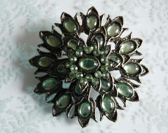 Huge Vintage Green Cabochon and Rhinestone Flower Brooch