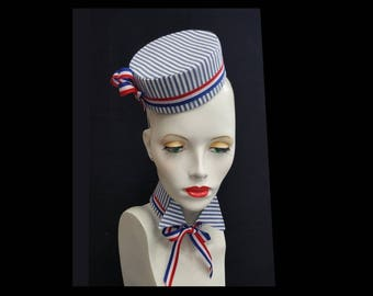 Red white blue pillbox hat and collar cigarette girl hat bell hop hat wing tip collar
