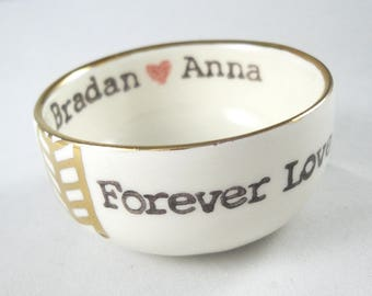 Tribal Pattern ceramic ring dish with gold rim and custom stamped text red heart between bride and groom name ring holder bridal shower gift