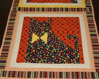 Halloween cats quilt table runner or door or wall hanging orange black yellow cream reversible 52 x 18 inches