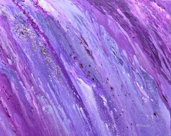 "Abstract painting on canvas  purple acrylic mixed media original modern wall art 24x30"" by artist Mariana Stauffer"