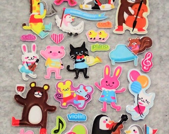 Mixed Adorable Puffy Musical Animal Zoo Stickers