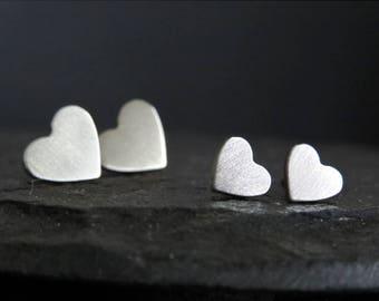 Heart stud earrings / Valentine's gift / surgical steel studs / hypoallergenic earrings / small studs / stainless steel studs