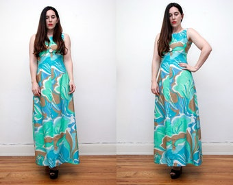 Vintage 60's Floral Low Back Open Back Psychedelic Abstract Maxi Dress