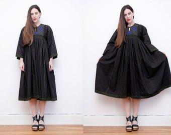 Vintage Indian Afghan Kaftan Kimono Cape Boho Angel Wing Maxi Dress RARE
