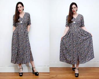 Vintage Floral Garden Tea Dress Grunge Revival 70s Maxi Dress