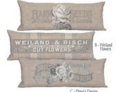 Long Accent Pillow Cover - Pillow - Rustic Americana Grain Sack Style 12x32 12x36 14x36 Inch Country Flower Country Farmhouse Cushion Cover