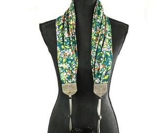 scarf camera strap periwinkle budding - BCSCS097