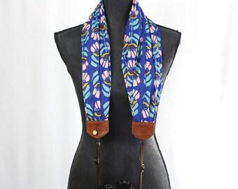 organic luxury batiste cotton scarf camera strap - navy nouveau - BCSCS090