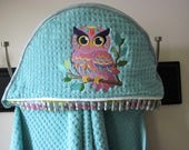 owl hooded towel infant toddler child gender neutral gift pink and aqua