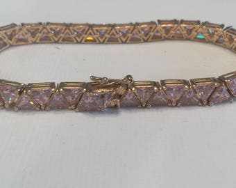Suzanne Somers Pink Trilliant CZ Bracelet