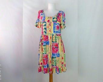 80s Hilo Hattie Dress Babydoll Dress Vintage Hawaiian Dress Tropical Floral Dress Surf Tiki Dress Luau Dress Beach Dress XS extra small W6D
