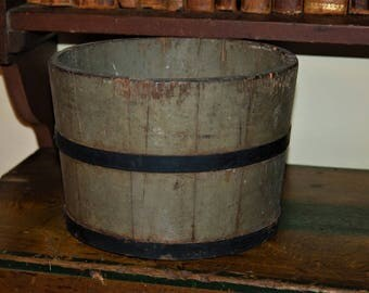 Antique Painted Wood Bucket in Original Green Paint - Staved with Iron Bands