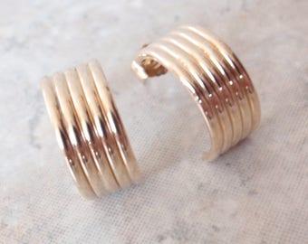 14K Earrings Yellow Gold Tube Half Hoops Wide Pierced JCM Jacmel Vintage V0742