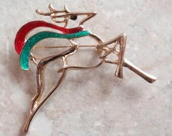 Christmas Reindeer Brooch Large Gold Red Green Vintage 101514MU