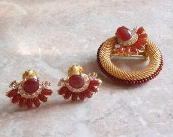 Florenza Earring Brooch Set Carnelian Stones Gold Mesh Vintage V0371