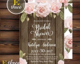 Rustic Bridal Shower Invitation - Barn wood and Floral Bridal Shower Invite - Blush Pink Roses - Barn Wedding