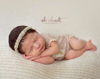 newborn girl short sleeve, lace romper (Aurora) - photography prop - tan, cream, gold, lace, floral, white, outfit, onesie