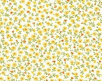 Robert Kaufman - Sevenberry Petite Garden Blue ditsy floral tiny calico Florals yellow daisy SB-6112D4-2  Japanese Cotton - choose your cut