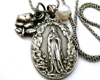 Virgin Mary Necklace, Our Lady Lourdes, Virgin Mary, Mary Necklace, Mary Medal, Penin Medal