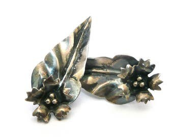 Vintage Sterling Silver Leaf Earrings, Screw Back Vintage Earrings