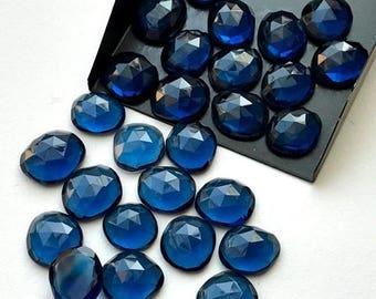 ON SALE 50% WHOLESALE 10 Pcs Hydro Quartz Rose Cut, Sapphire Blue Color Flat Back Cabochons, Rose Cut Faceted Gemstones, 15-17mm - Ns3308