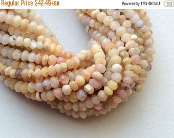 ON SALE 55% Pink Opal Beads, Natural Shaded Pink Opal Faceted Rondelles, Tiny Beads, Pink Opal Necklace, 2.5-3mm, 13 Inch - GSA60