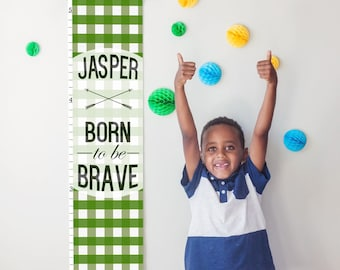 "Custom/ Personalized Green Plaid ""Born to be Brave"" canvas growth chart - great for boys room/nursery or baby shower gift"