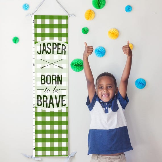 "Personalized Green Plaid ""Born to be Brave"" canvas growth chart"