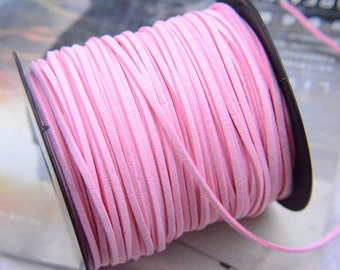 20 yds faux suede leather string, faux leather string, Mala strings, Pink Suede Cord, Jewelry leather, necklace string, mala thread 2.5mm