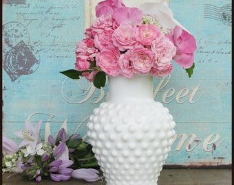 Vintage Milk Glass Hobnail Vase/ Milk Glass Wedding Centerpiece