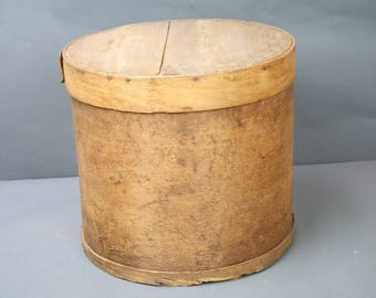 Antique Wooden Cheese Box Round Large Splint Type Wood w Markings Original Nails Fixer Upper Prairie Farm Chic Decor
