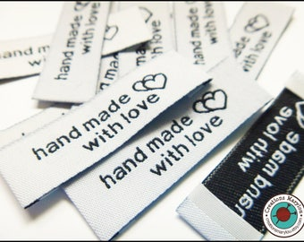 "10 off-white Terylene Woven Printed Labels "" hand made with love """