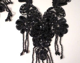 ON SALE Jet Black Beaded and Sequined Neckline Applique with Fringe-One Piece