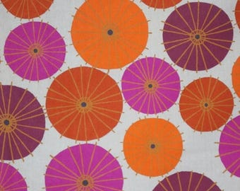 ON SALE Mulberry and Persimmon Orange on Gray Modern Parasol Print Pure Cotton Fabric--By the Yard