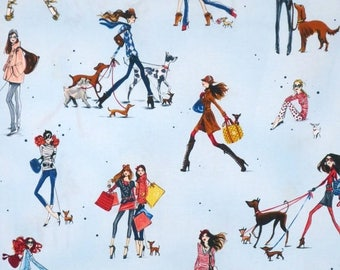ON SALE Pale Blue Who's that Girl #3 Allover Print from Robert Kaufman--One Yard