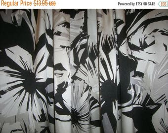 ON SALE SPECIAL--Black White and Gray Large Floral Print Stretch SIlk Charmeuse Fabric--One Yard