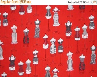 ON SALE SPECIAL--Gray and Black on Red Fashion Dress Form Print from Robert Kaufman--By The  Yard